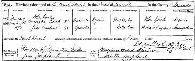 Ancestry.com. Lancashire, England, Church of England Marriages and Banns, 1754-1936 [database on-line]. Provo, UT, USA: Ancestry.com Operations, Inc., 2012. Original data: Lancashire Anglican Parish Registers. Preston, England: Lancashire Archives. Name: John Manley Barrington Spink; Gender: Male; Age: 23; Birth Year: abt 1851; Event Type: Marriage; Event Date: 14 Jan 1874; Parish: Lancaster, St Mary, Lancashire, England; Spouse: Jane Coupland; Spouse Age: 22; Father: John Spink; Spouse Father: Richard Coupland; Register Type: Parish Register.