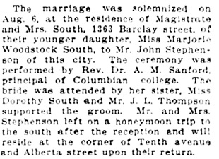 Vancouver Daily World, August 12, 1913, page 9, column 4.