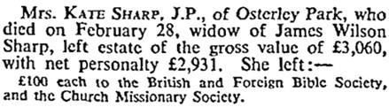 Deaths, The Times (London, England), April 11, 1934, page 9.