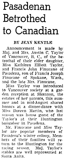 The Los Angeles Times, September 8, 1938, page 28, column 2 [includes photograph of Kathleen Elliott Taylor and Francis John Finucane].
