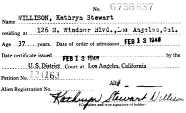 """California, Southern District Court (Central) Naturalization Index, 1915-1976,"" database with images, FamilySearch (https://familysearch.org/ark:/61903/1:1:KX3K-96Z : 12 March 2018), Kathryn Stewart Willison, 1948; citing Naturalization, Los Angeles, Los Angeles, California, United States, NARA microfilm publication M1525 (United States: National Archives and Records Service, Los Angeles Branch, 2016)."