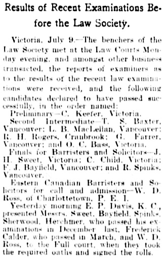 """""""Learned in Law,"""" Vancouver Daily World, July 9, 1902, page 3, column 3."""