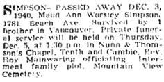 Vancouver Province, December 4, 1940, page 25.