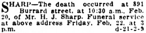 "Vancouver Daily World, February 21, 1918, page 14, column 1 [refers to ""Mr. H.J. Sharp""]."