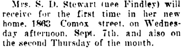 Vancouver Daily World, September 7, 1910, page 10, column 4.