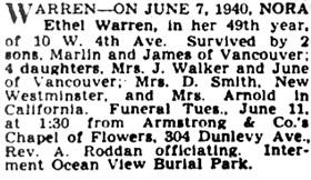 Vancouver Province, June 10, 1940, page 17; Vancouver Sun, June 10, 1940, page 14.