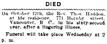 Vancouver Daily World, October 12, 1903, page 1, column 3.