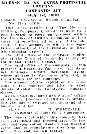 Vancouver Daily World, November 5, 1910, page 18, column 4.
