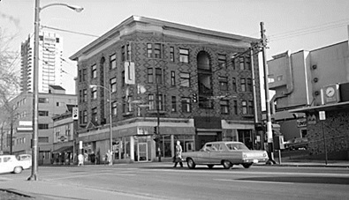 Northeast corner of Davie Street and Denman Street, about 1975; Vancouver City Archives, http://searcharchives.vancouver.ca/n-e-corner-davie-and-denman-sts.