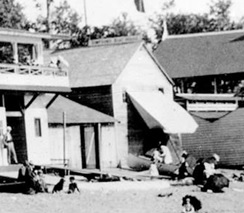 Simpson's Boat House, about 1898, detail from English Bay beach, Vancouver City Archives, Be P2; http://searcharchives.vancouver.ca/english-bay-beach-2.