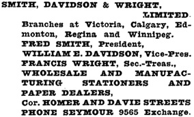 Henderson's Greater Vancouver Directory, 1923, page 1185.