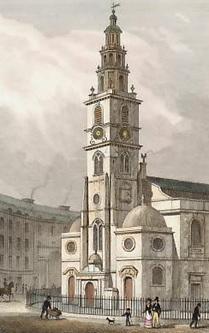 St. Clement Danes, Strand, engraved by S. Lacey after T. H. Shepherd, 1829; https://www.antique-prints.de/shop/catalog.php?cat=KAT86&product=P012039.