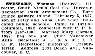 Thomas Stewart, Who's Who and Why, 1916, page 777; https://archive.org/stream/northernwhoswhob01park#page/777/mode/1up.