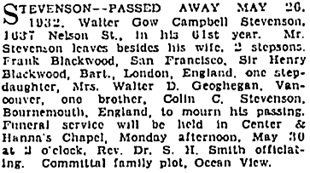 Vancouver Sun, May 28, 1932, page 20, column 1.