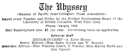 The Ubyssey, January 6, 1926, page 2, columns 1-2; https://open.library.ubc.ca/collections/ubcpublications/ubysseynews/items/1.0125013#p1z-6r0f: