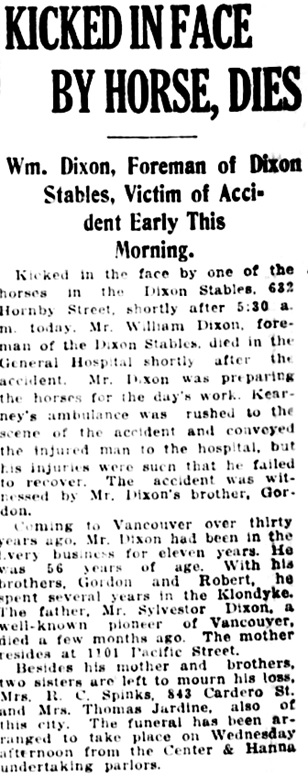Vancouver Daily World, May 10, 1920, page 13, column 7.