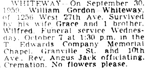 Vancouver Sun, October 5, 1959, page 30; Vancouver Sun, October 6, 1959, page 30.