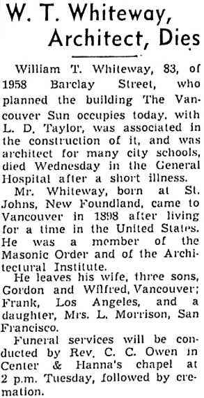 Vancouver Sun, October 10, 1940, page 17, column 2; https://news.google.com/newspapers?id=xTNlAAAAIBAJ&sjid=QokNAAAAIBAJ&pg=3264%2C1476679.