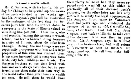 Vancouver Daily World, May 21, 1891, page 8, columns 2-3.
