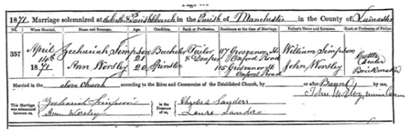 Ancestry.com. Manchester, England, Marriages and Banns, 1754-1930 (Cathedral) [database on-line]. Provo, UT: Ancestry.com Operations, Inc., 2013. Original data: Anglican Parish Registers. Manchester, England: Manchester Cathedral. Name: Zechariah Simpson; Birth Year: abt 1850; Marriage Date: 14 Apr 1871; Parish: Manchester, St Mary, St Denys and St George; Father's name: William Simpson; Spouse's Name: Ann Worsley; Spouse's Father's Name: John Worsley, Archive Roll: 738.