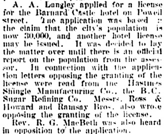 Vancouver Daily World, January 17, 1903, page 7, column 4.
