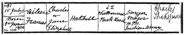Ancestry.com. London, England, Church of England Births and Baptisms, 1813-1917 [database on-line]. Provo, UT, USA: Ancestry.com Operations, Inc., 2010. Name: Aileen Frances Hatchell; Gender: Male [sic]; Record Type: Baptism; Baptism Date: 15 Jul 1881; Baptism Place: Paddington St Stephen, Westminster, England; Father: Charles Hatchell; Mother: Jane Elizabeth Hatchell; Register Type: Parish Registers.