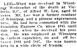 The Winnipeg Tribune, July 30, 1925, page 8, column 5.