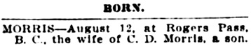 Vancouver Daily World, August 15, 1908, page 2, column 6.