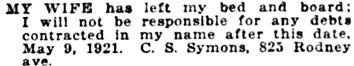 The Morning Oregonian (Portland, Oregon), May 9, 1921, page 13, column 6; https://oregonnews.uoregon.edu/lccn/sn83025138/1921-05-09/ed-1/seq-13/.