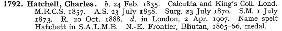 Ancestry.com. UK, Roll of the Indian Medical Service, 1615 -1930 [database on-line]. Lehi, UT, USA: Ancestry.com Operations, Inc., 2016. Name: Charles Hatchell; Birth Date: 24 Feb 1835; Event Date: 1857; Death Date: 2 Apr 1907; Death Place: London.