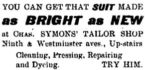 Mt. Pleasant Advocate, October 12, 1907, page 8, column 4; https://open.library.ubc.ca/collections/bcnewspapers/mpadvocate/items/1.0311578#p7z-5r0f:
