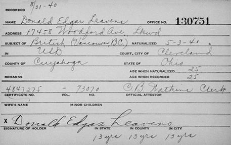 """Ohio, County Naturalization Records, 1800-1977,"" database with images, FamilySearch (https://familysearch.org/ark:/61903/1:1:K8H9-YB5 : 29 July 2017), Donald Edgar Leavens, 1941; citing Naturalization, , various county courthouses, Ohio; FHL microfilm 2,251,756."