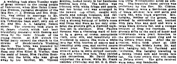 Vancouver Daily World, June 21, 1911, page 3, column 6.