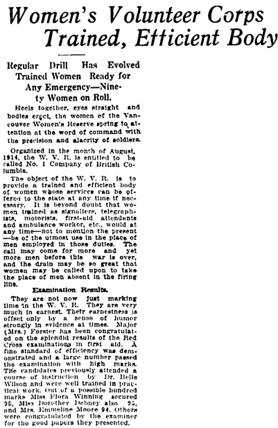 Vancouver Daily World, March 4, 1916, page 3, columns 1-3 [selected portions of article].