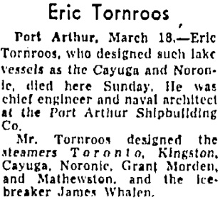 Eric Tornroos, Toronto Globe and Mail, March 19, 1957; page 2, column 5.