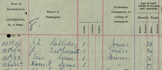 Ancestry.com. UK, Outward Passenger Lists, 1890-1960 [database on-line]. Provo, UT, USA: Ancestry.com Operations, Inc., 2012. Name: Harry H Symes; Gender: Male; Age: 27; Birth Date: abt 1880; Departure Date: 8 Feb 1907; Port of Departure: Liverpool, England; Destination Port: St John, New Brunswick, Canada; Ship Name: Empress of Ireland; Master: G S Forster.