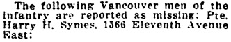 Vancouver Daily World, August 4, 1916, page 5, column 1.