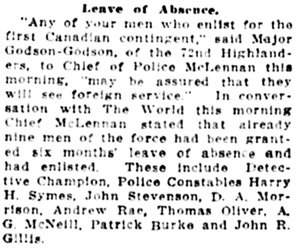 Vancouver Daily World, August 14, 1914, page 20, column 5.
