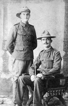 "Harry Hayward Symes and his brother Samuel John (""Jack"") Symes in the Second Boer War in South Africa (about 1899); Isle Abbotts Village Photographic Archive; http://www.isle-abbotts.org.uk/photolib/1900s/content/1899symes_large.html."