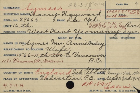 Canadian Expeditionary Force; Name: Symes, Harry Hayward; Rank: LCP; Regimental Number: 29065; Date of Birth: 11/05/1880; Reference: RG 150, Accession 1992-93/166, Box 9475 – 78; Item Number: 261788; Record Group: Canadian Expeditionary Force (CEF); http://www.bac-lac.gc.ca/eng/discover/military-heritage/first-world-war/personnel-records/Pages/item.aspx?IdNumber=261788.