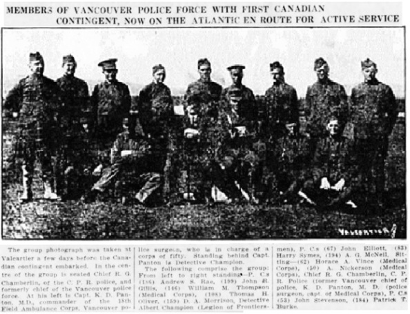 Vancouver Daily World, September 28, 1914, page 1, columns 4-6 [Harry Symes, standing, second from right].