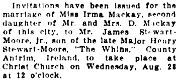 Vancouver Daily World, August 14, 1912, page 9, column 4.