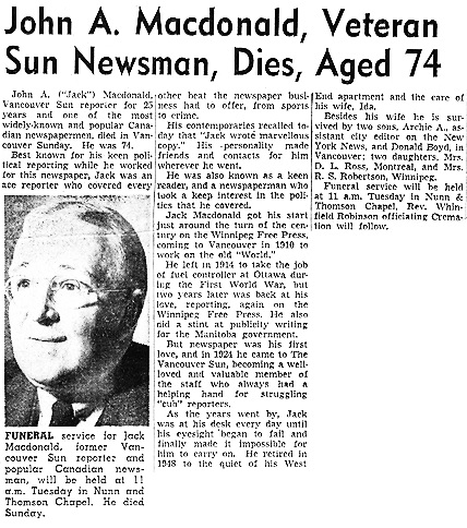 Vancouver Sun, about November 19, 1951 [reproduced in Ancestry.ca under John Archibald Macdonald (1877-1951).