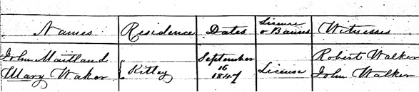 """Ontario, District Marriage Registers, 1801-1858,"" database with images, FamilySearch (https://familysearch.org/ark:/61903/1:1:Q2C1-23P9 : 16 March 2018), John Maitland and Mary Waker, 16 Sep 1847; citing Johnstown, Quinte West, Hastings, Ontario, Canada, Archives of Ontario, Toronto; FHL microfilm 1,030,053."