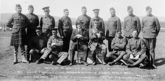 """Members of Vancouver Police Force with contingent,"" Vancouver City Archives, CVA 99-1043; http://searcharchives.vancouver.ca/members-of-vancouver-police-force-with-contingent. [The date is 1914; the archives notation gives a date range of 1915 to 1920.]"