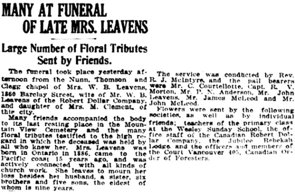 Vancouver Daily World, February 10, 1921, page 15, columns 6-7. [Note: burial was actually in Ocean View Burial Park in Burnaby, British Columbia.]