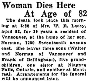 Vancouver Sun, November 11, 1927, page 17, column 7.