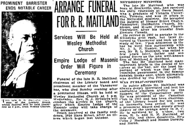 Vancouver Sun, April 12, 1921, page 5, column 2.