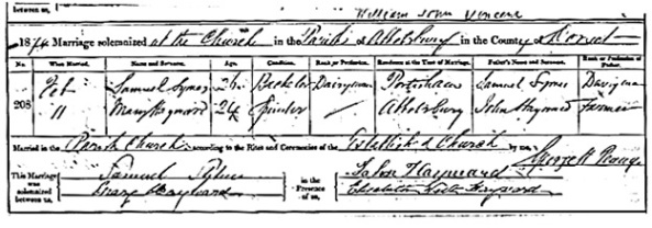 Ancestry.com. Dorset, England, Church of England Marriages and Banns, 1813-1921 [database on-line]. Provo, UT, USA: Ancestry.com Operations, Inc., 2011. Name: Samuel Symes; Gender: Male; Marriage Age: 26; Birth Year: abt 1848; Marriage Date: 11 Feb 1874; Marriage Place: Abbotsbury, Dorset, England; Father: Samuel Symes; Spouse: Mary Hayward.