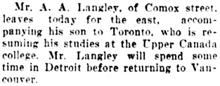 Vancouver Daily World, September 3, 1907, page 14, column 5.